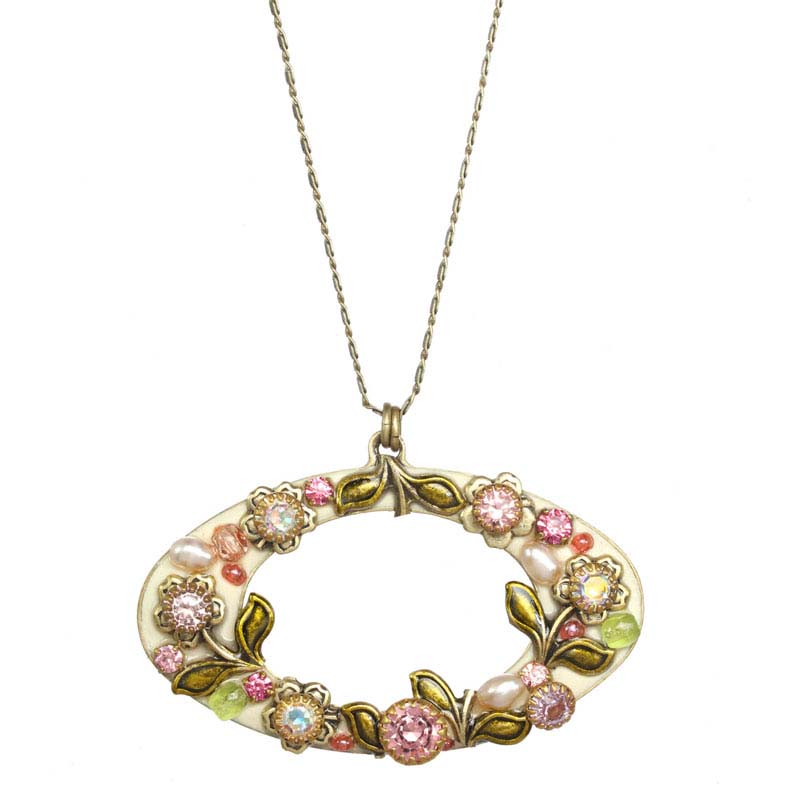 Pearl Blossom Open Oval Necklace