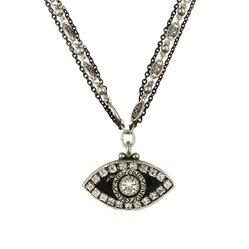 Black & Silver Evil Eye Necklace