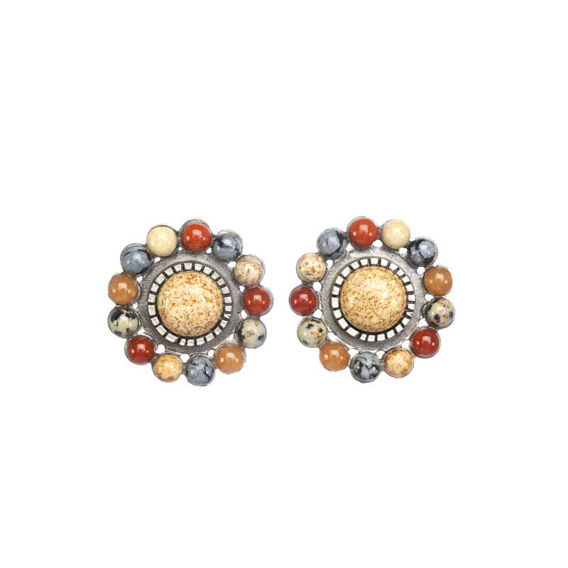 Rustic Flower Clip Earrings