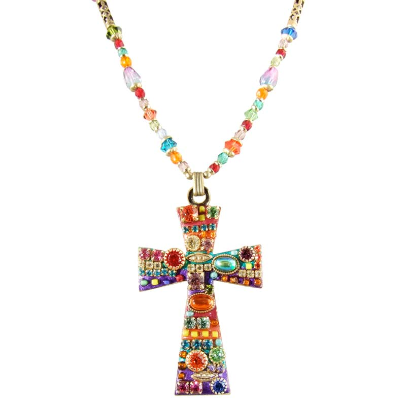 Multi-Bright Large Cross Necklace