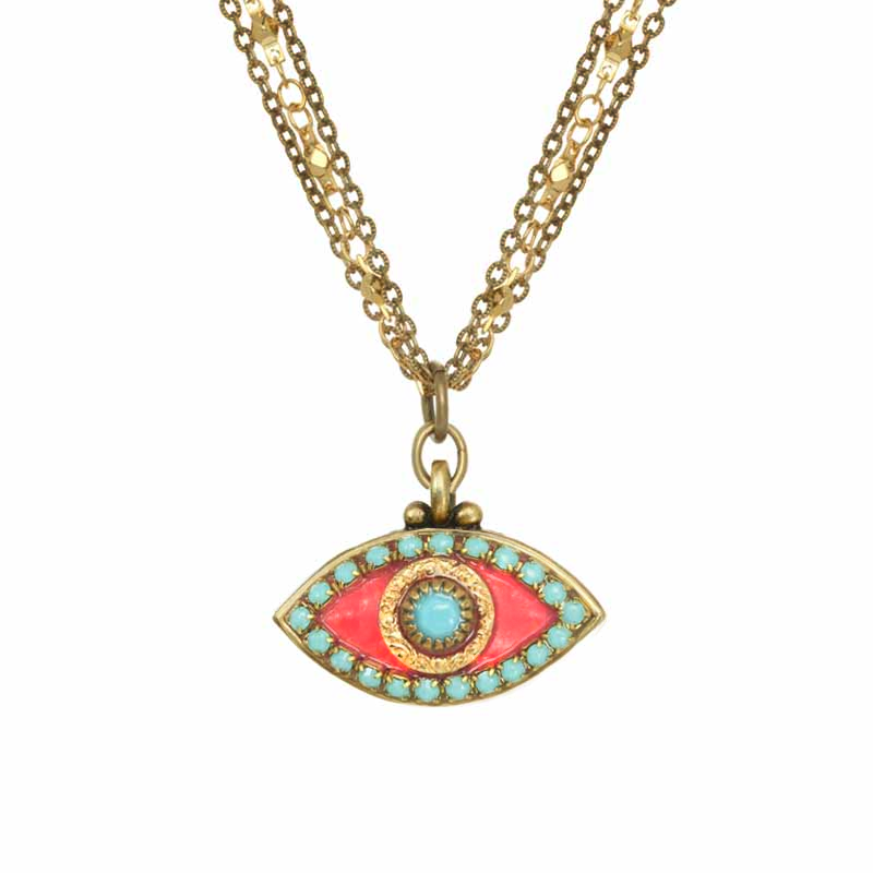 Pink & Turquoise Evil Eye Necklace