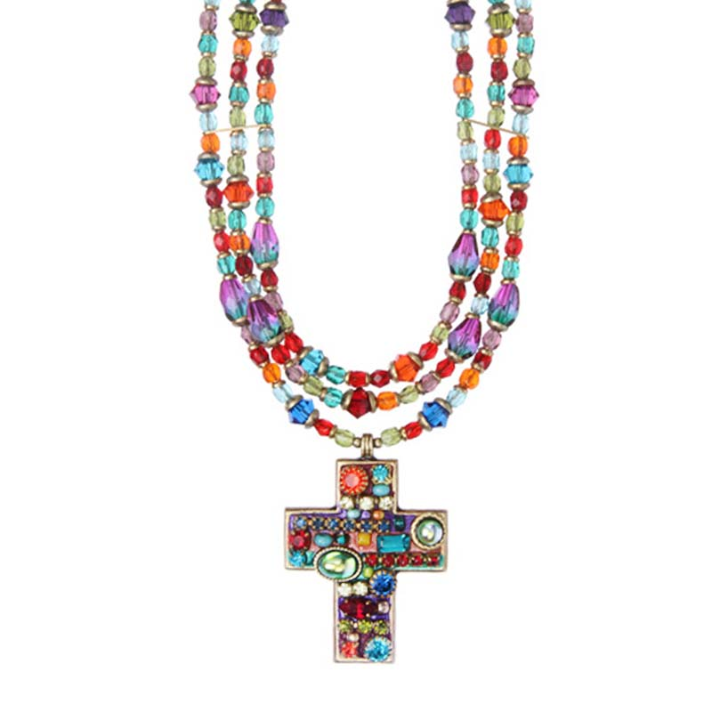Multi Bright Layered Cross Necklace