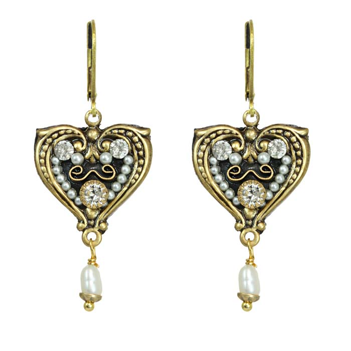 Art Deco Heart Earrings