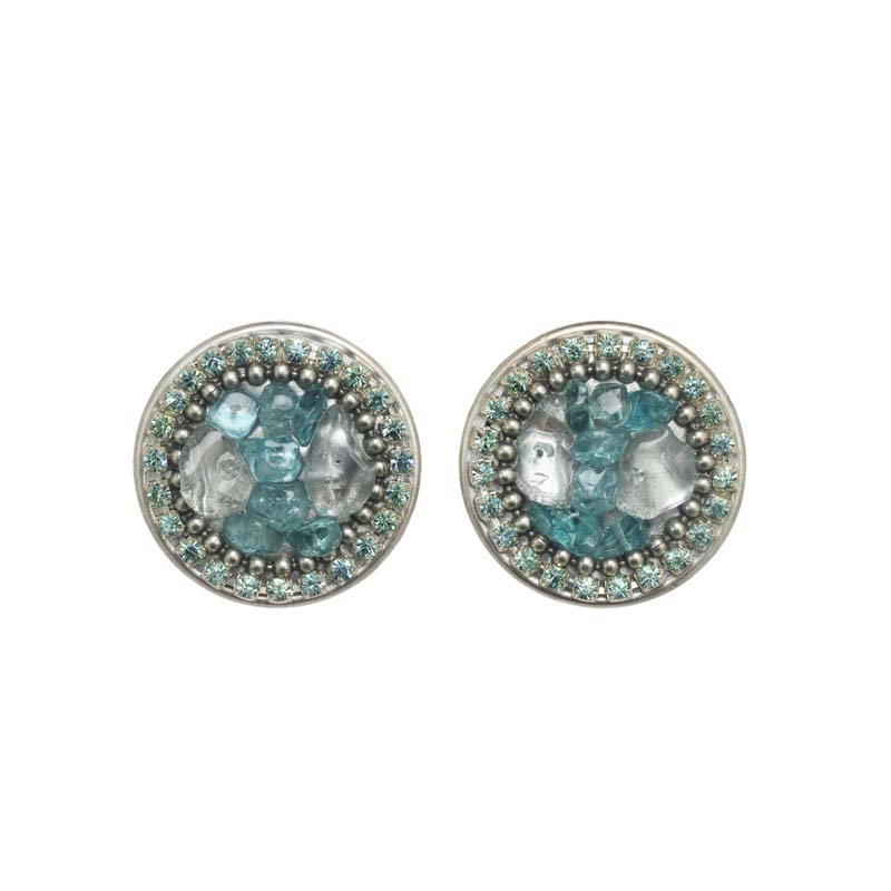 Aquamarine Circle Earrings