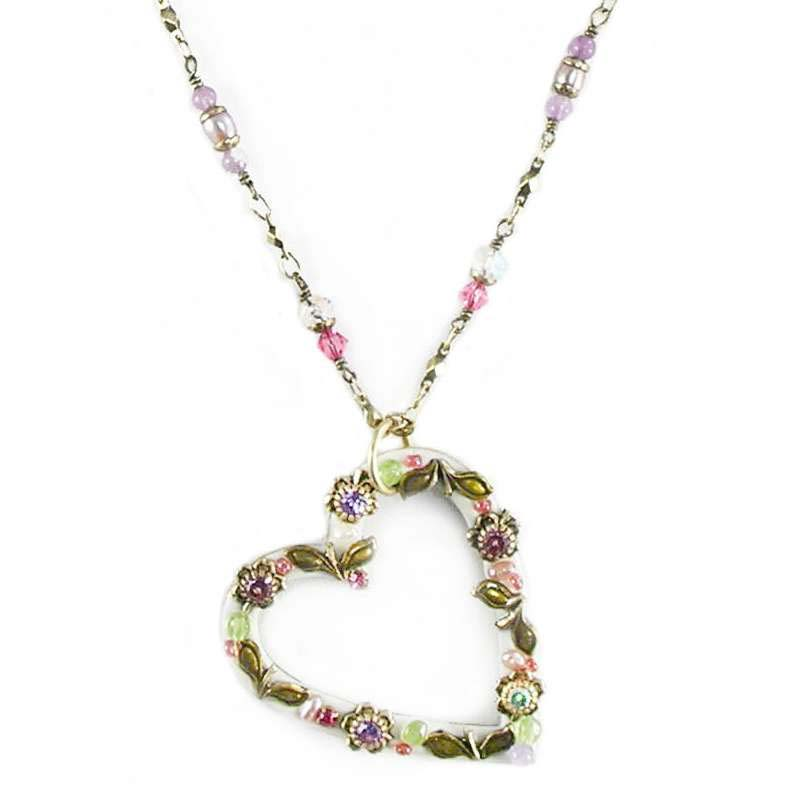Pearl Blossom Open Heart Necklace