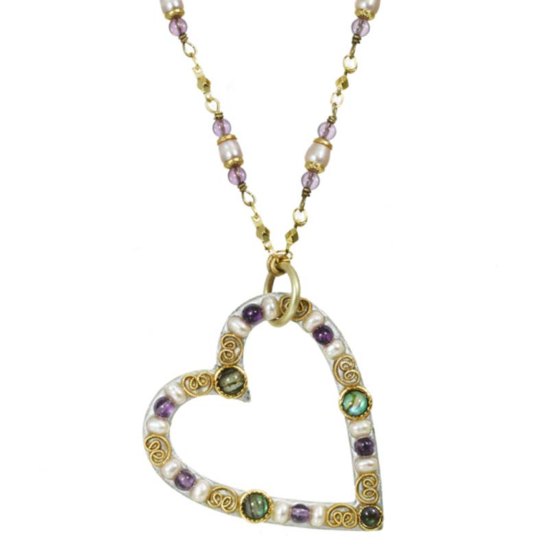 Abalone and Pearls Open Heart Necklace