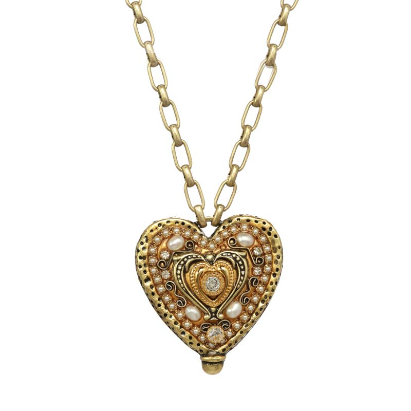 Gold & Pearls Heart Necklace