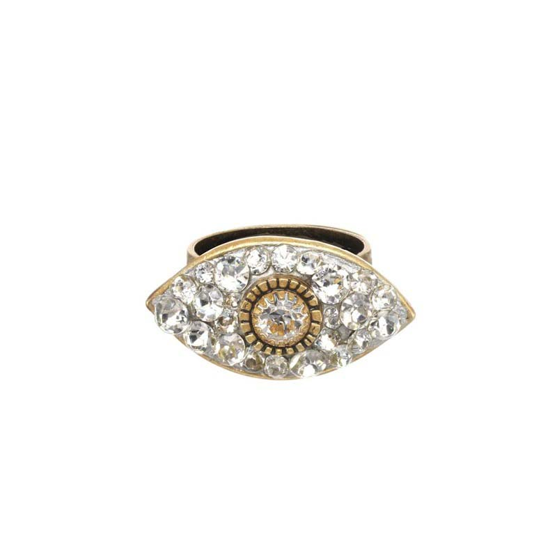 Dazzling Clear & Gold Eye Ring