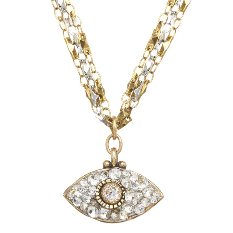Dazzling Silver & Gold Eye Necklace