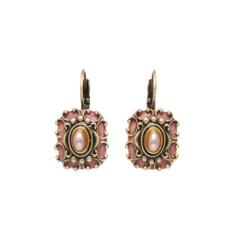 Pretty in Pink Square Earrings
