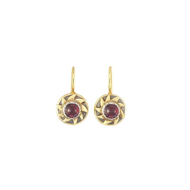 Tiny Garnet Sun Earrings