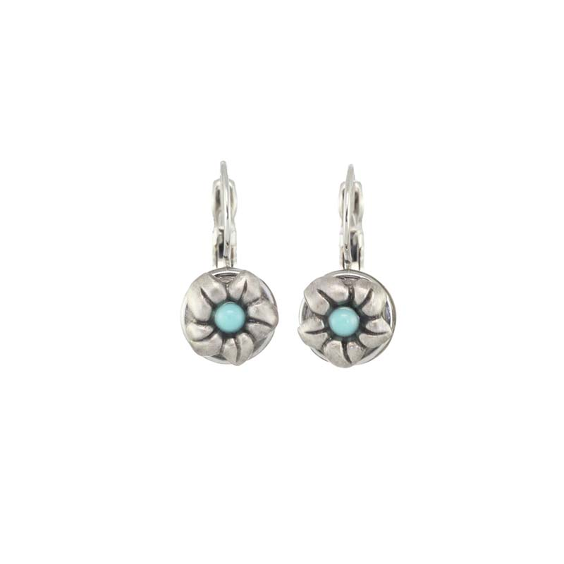Tiny Turquoise Flower Earrings