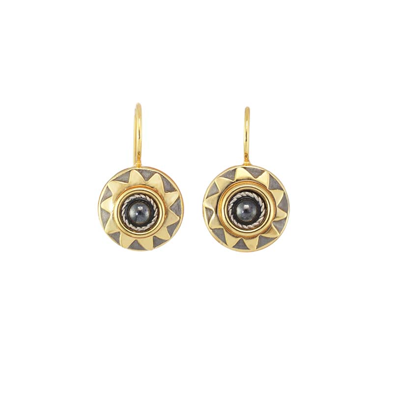 Small Hematite Sun Earrings