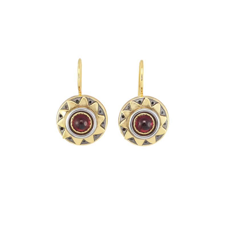 Large Garnet Sun Earrings
