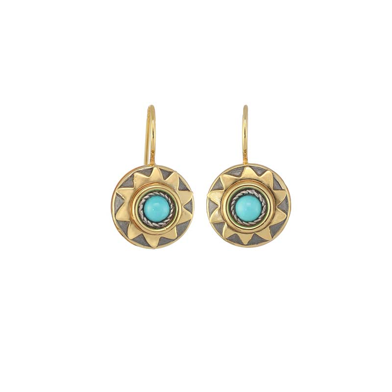 Small Turquoise Sun Earrings