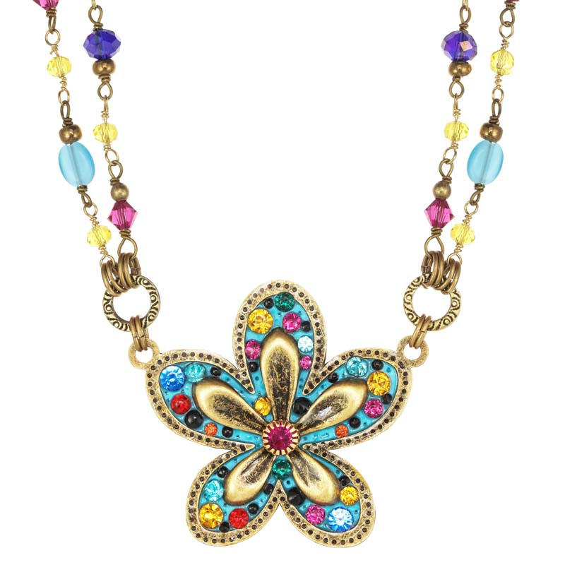 Groovy Blue Flower Necklace