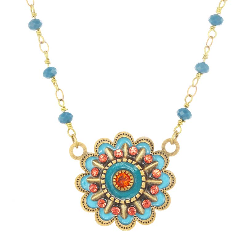 Tropical Blue Flower Necklace