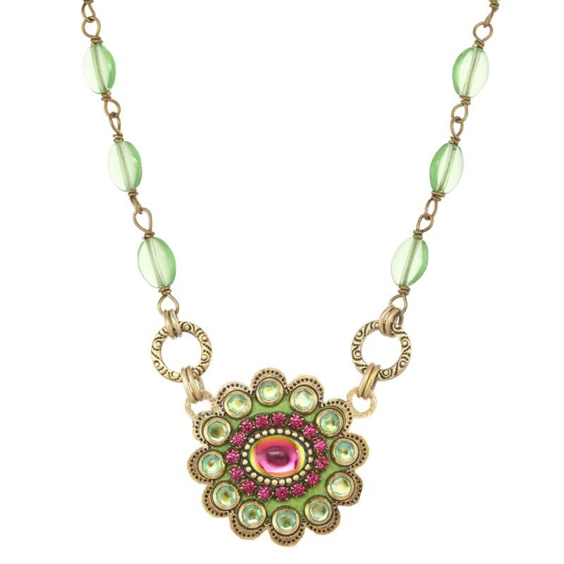 Juicy Lime Medium Flower Necklace