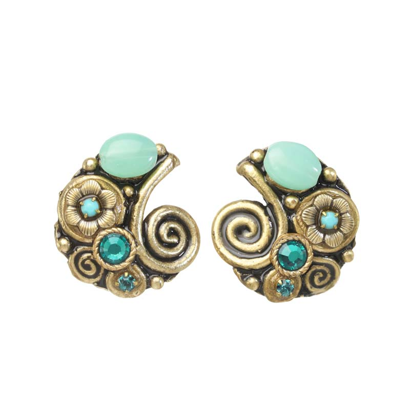 Viridian Swirl Circle Earrings (CUSTOM)