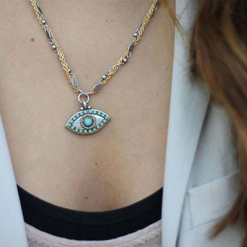 Turquoise and Grey Evil Eye Necklace