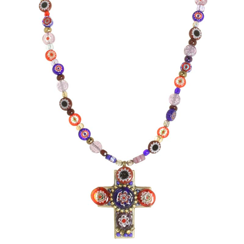 Millefiori Cross Necklace