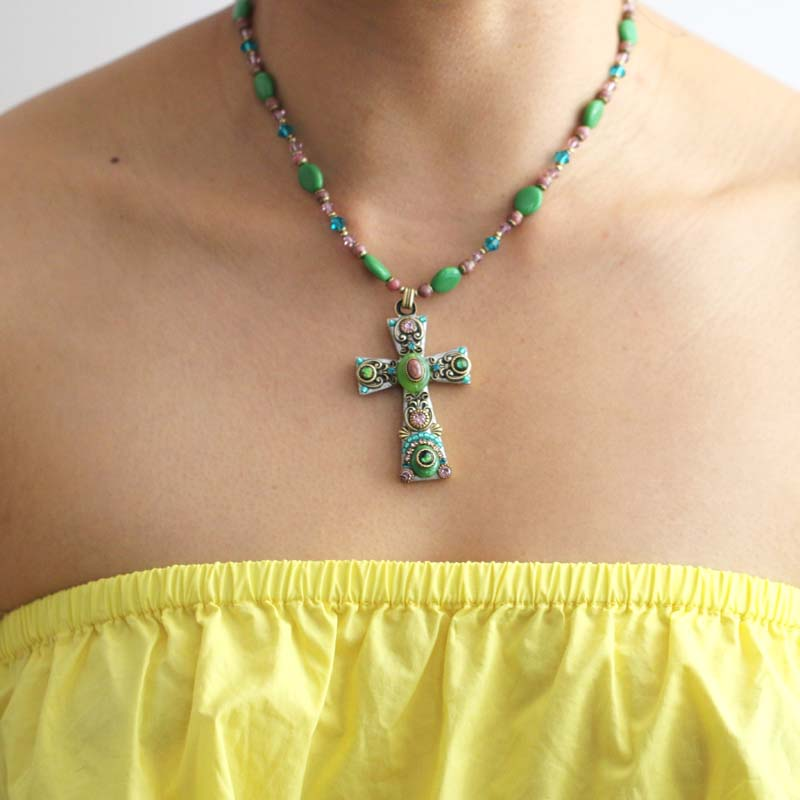 Green and Pink Cross Necklace