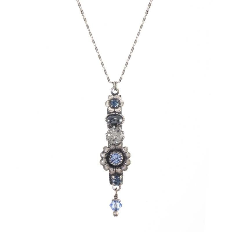 Blue Frost Bar Necklace