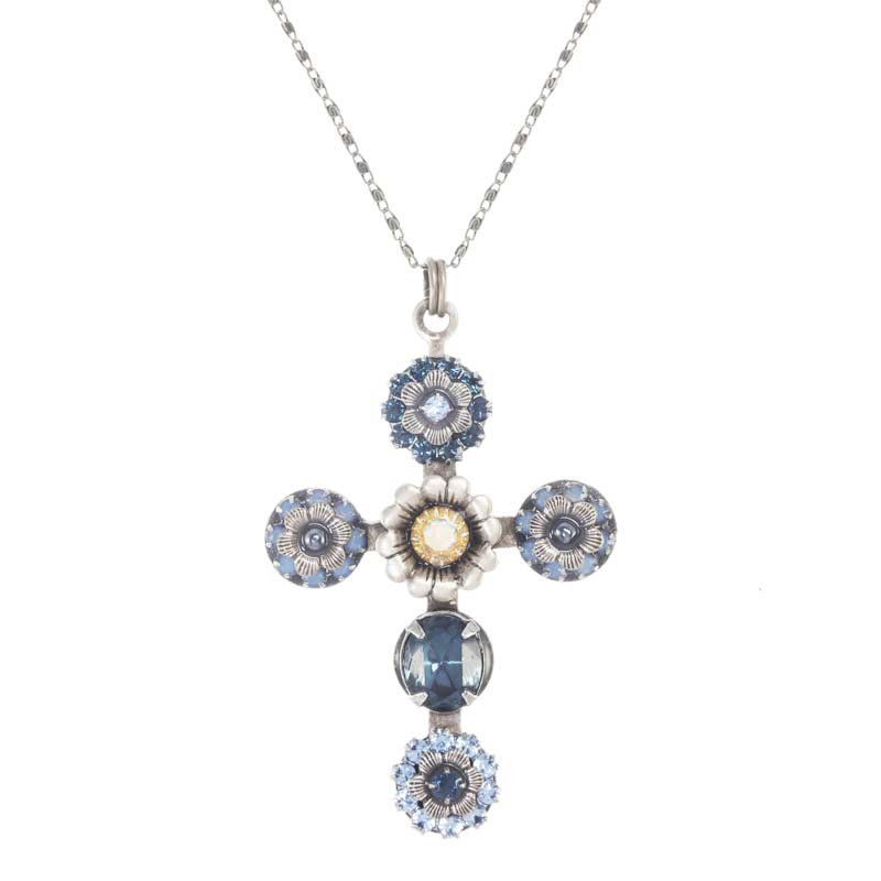 Blue Frost Cross Necklace
