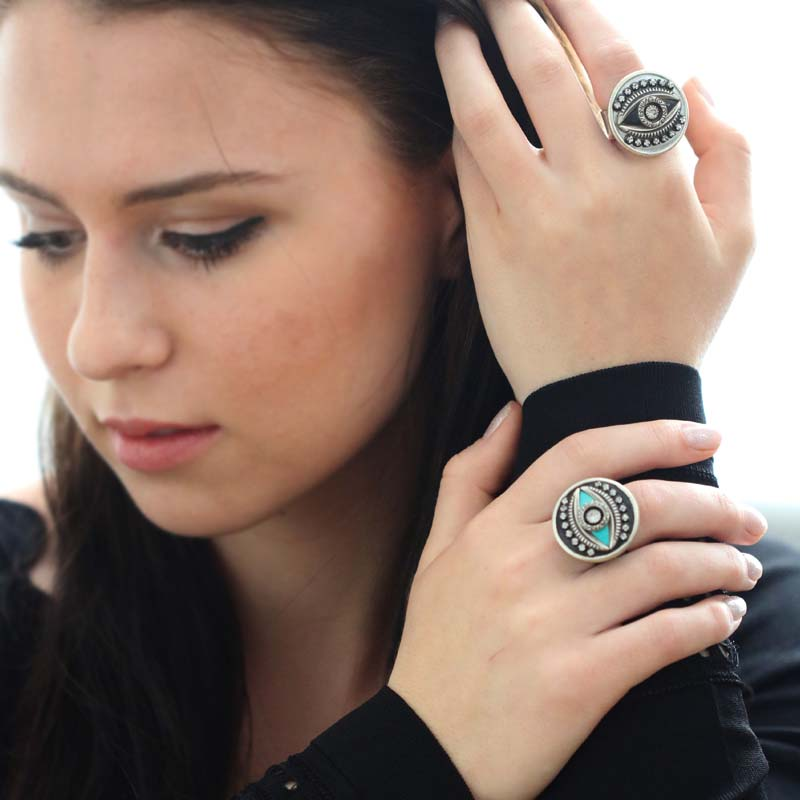 Black & Blue Circle Evil Eye Ring