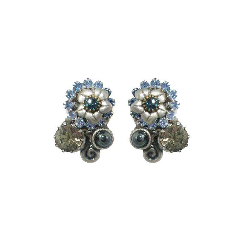Blue Frost Floral Swirl Clip Earrings