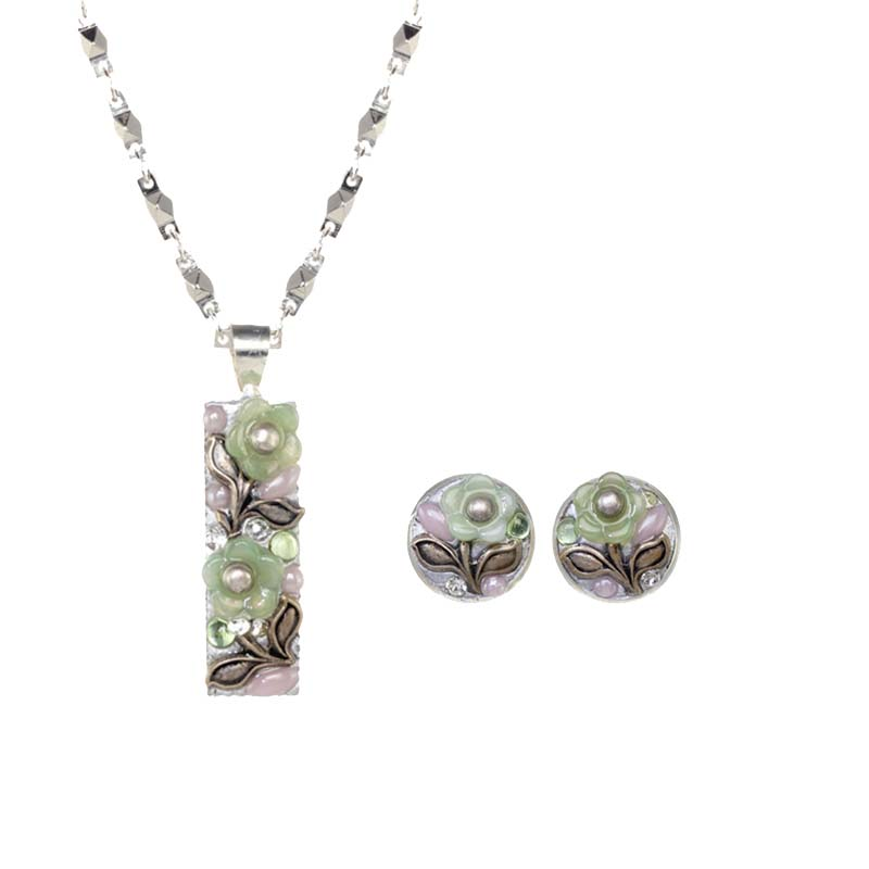 Green Floral Bar Necklace & Earring Set