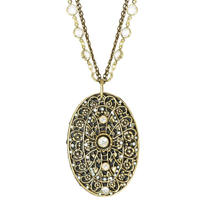 Double Chain Oval Drop Necklace