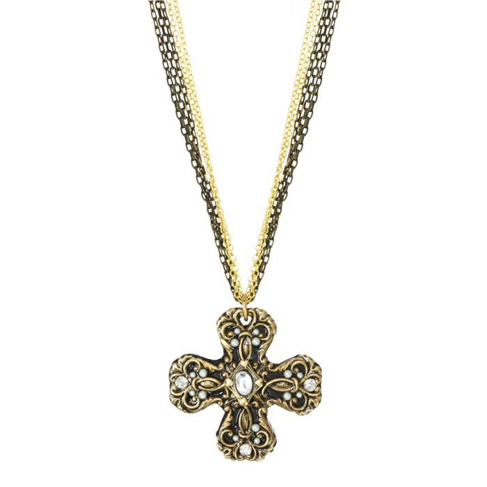 Art Deco Healing Cross Necklace