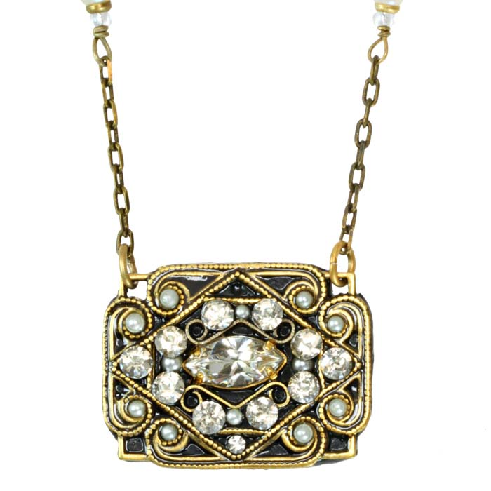 Art Deco Rectangle Swirl Necklace