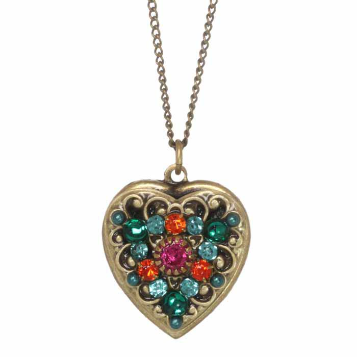 Prismatic Multicolor Heart Necklace
