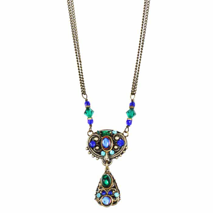 Peacock Oval Drop Necklace
