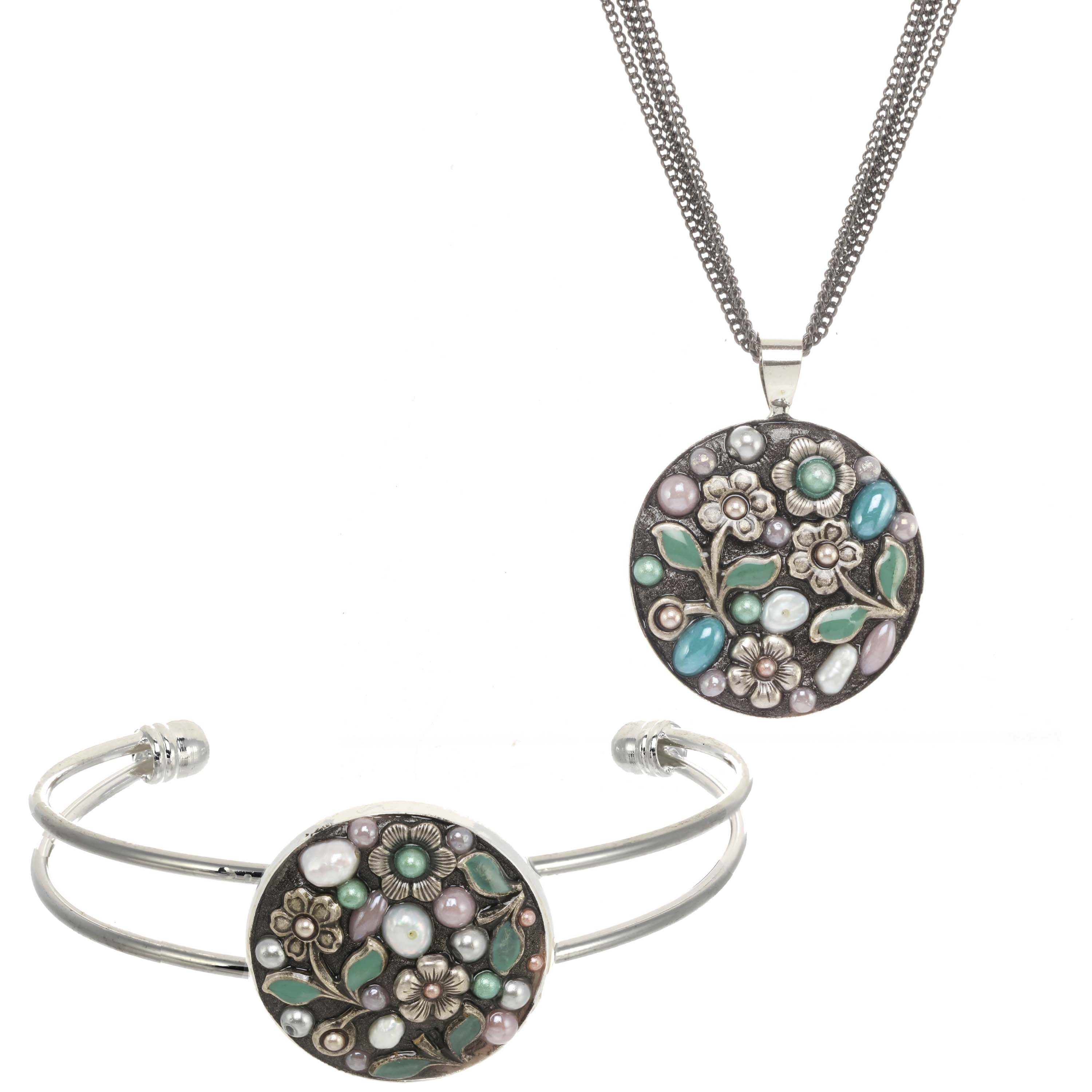 Silver Floral Necklace and Bangle Set