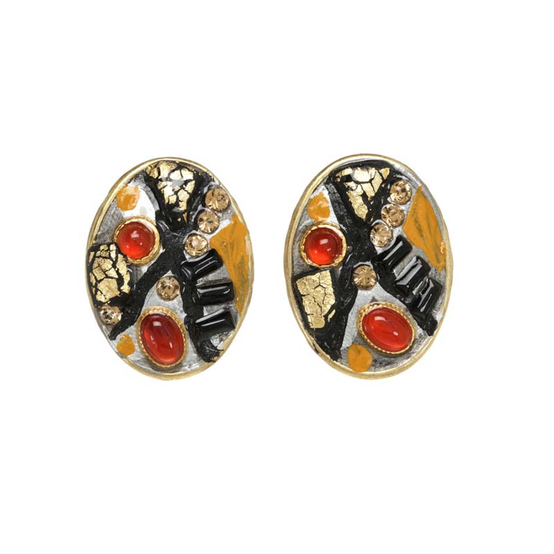 Abstract Oval Post or Clip Earrings