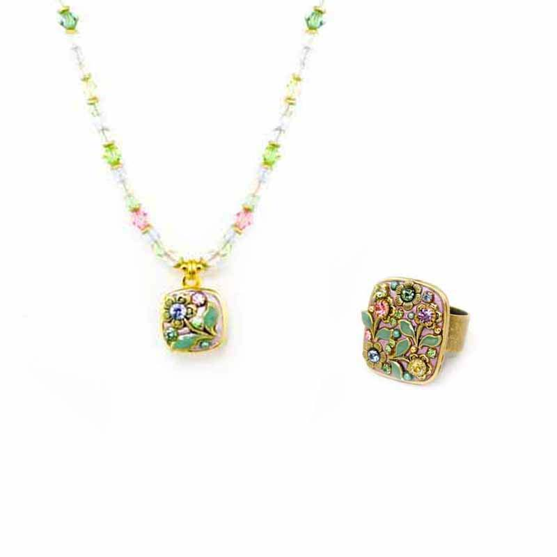 Lasting spring necklace & adjustable ring set