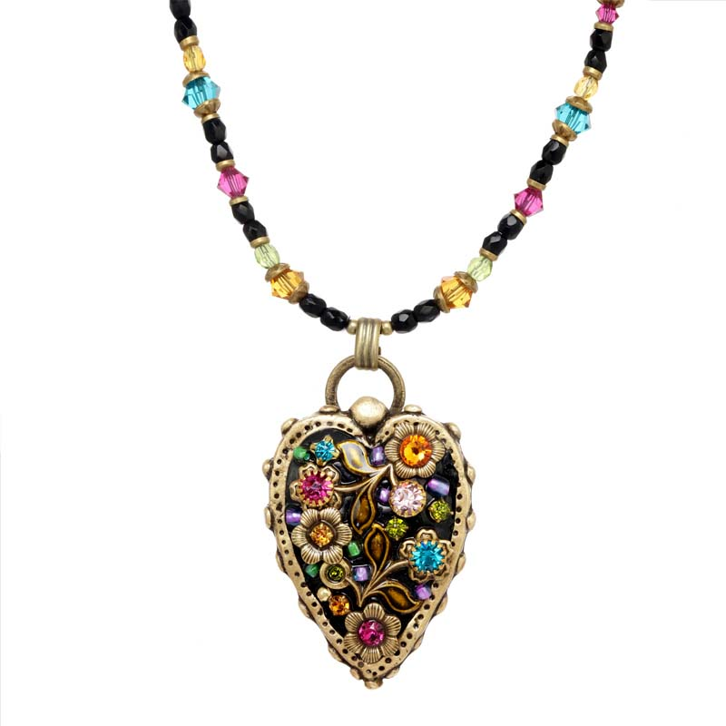 Midnight Garden Heart Necklace