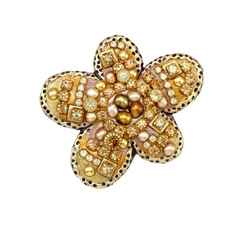 Citrine Floral Pin
