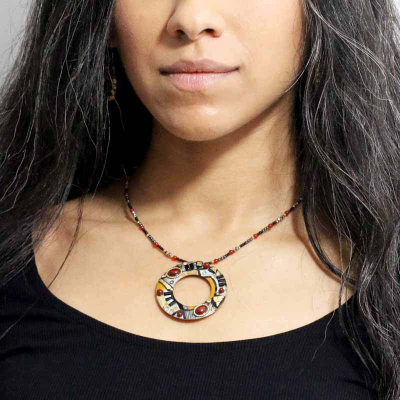 Abstract Large Open Necklace