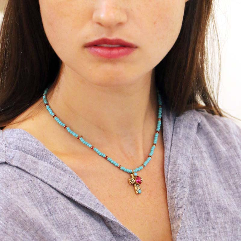 Cross on Aqua Beaded Chain Necklace