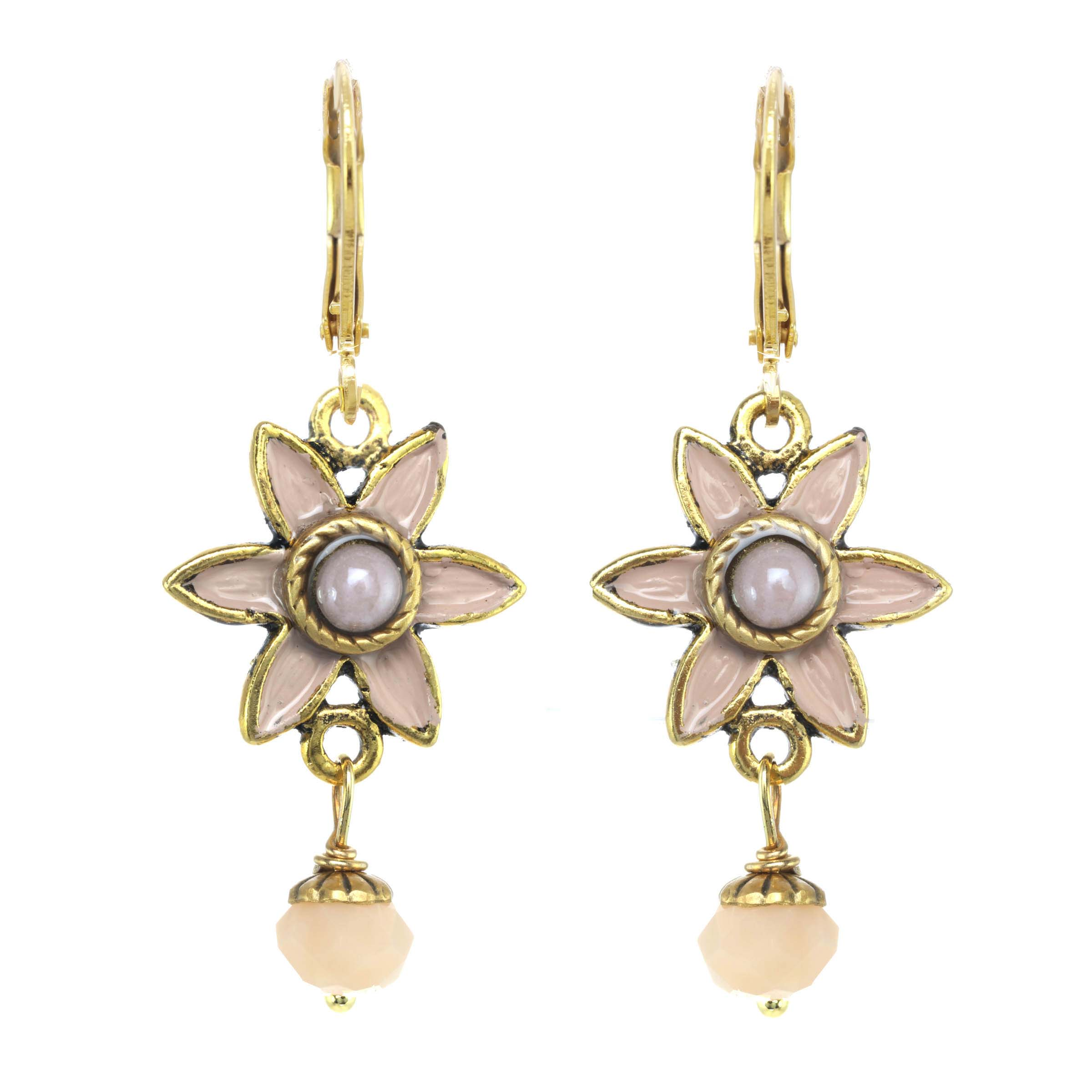Pale Pink Flower Earrings
