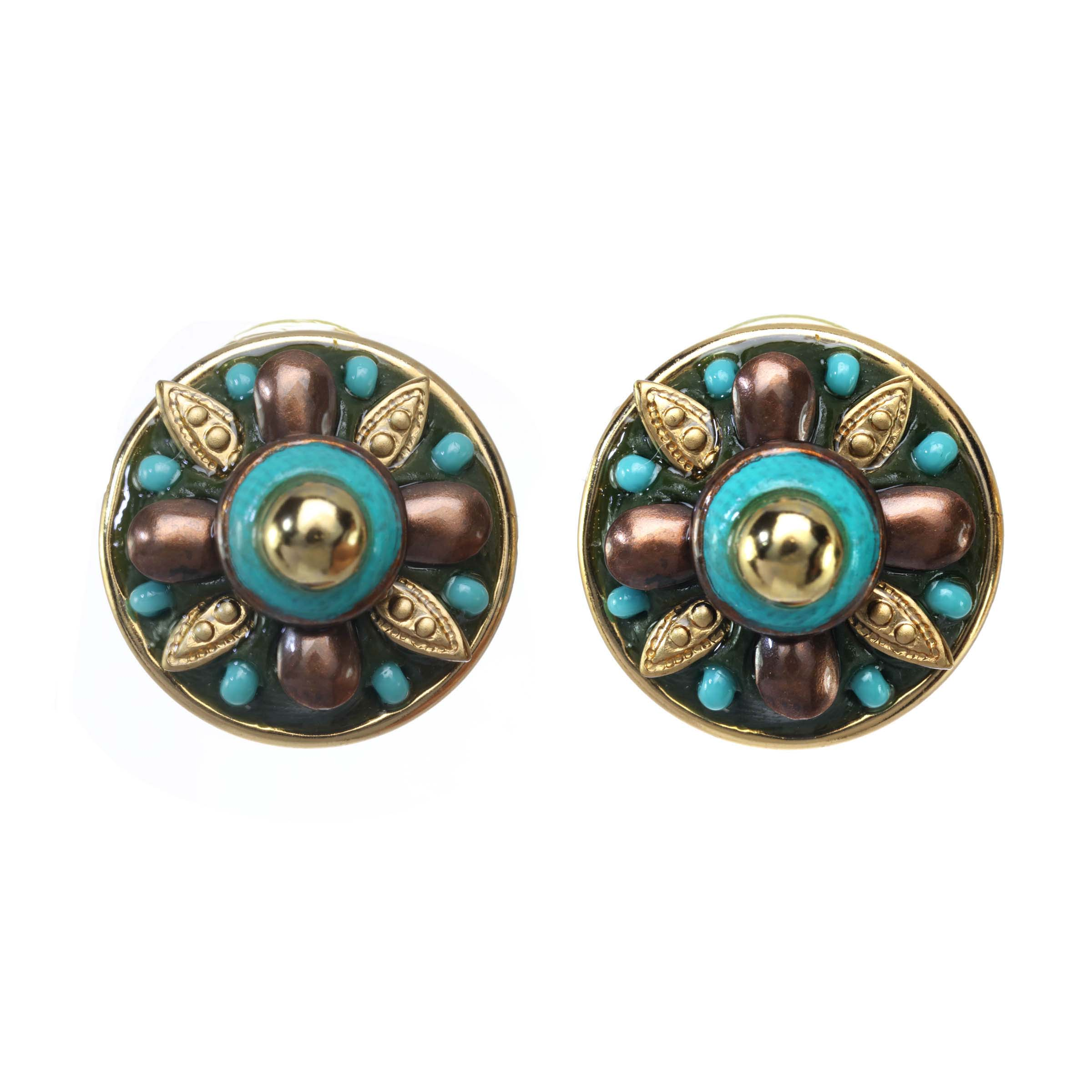 Turquoise and Gold Circle Earrings