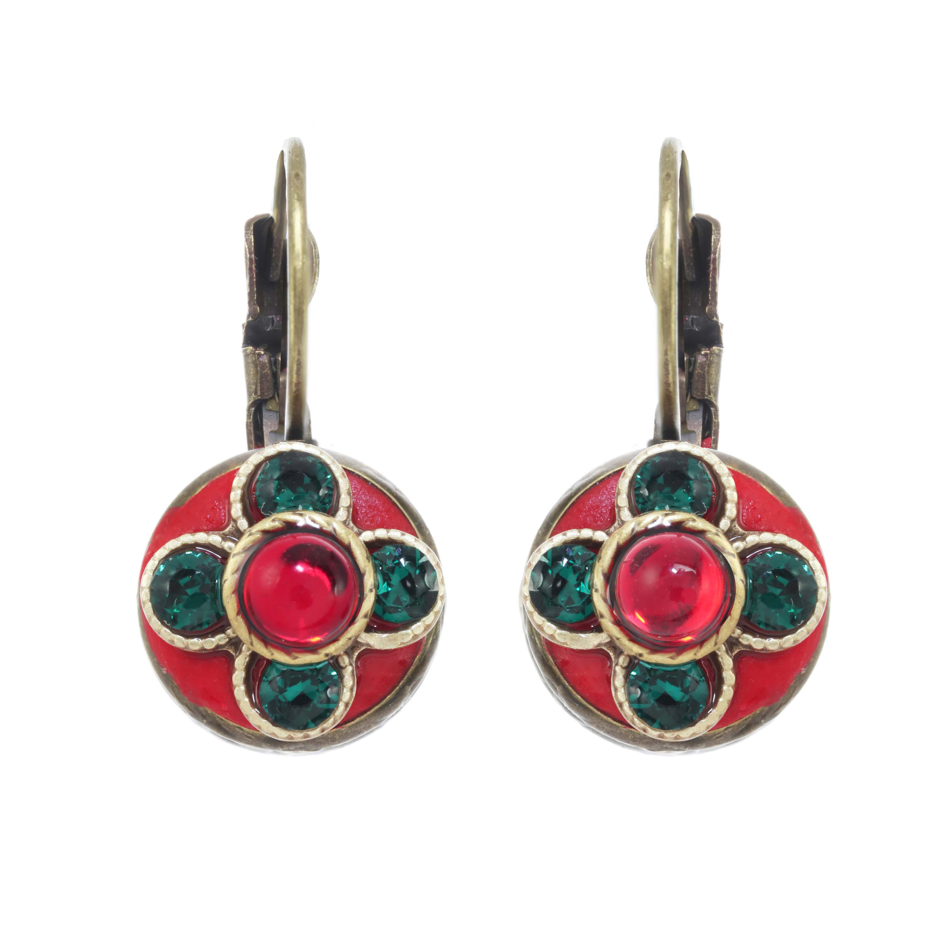 Dark Red and Green Earrings