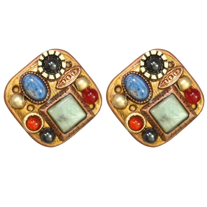Bronze Age Diamond Clip Earrings