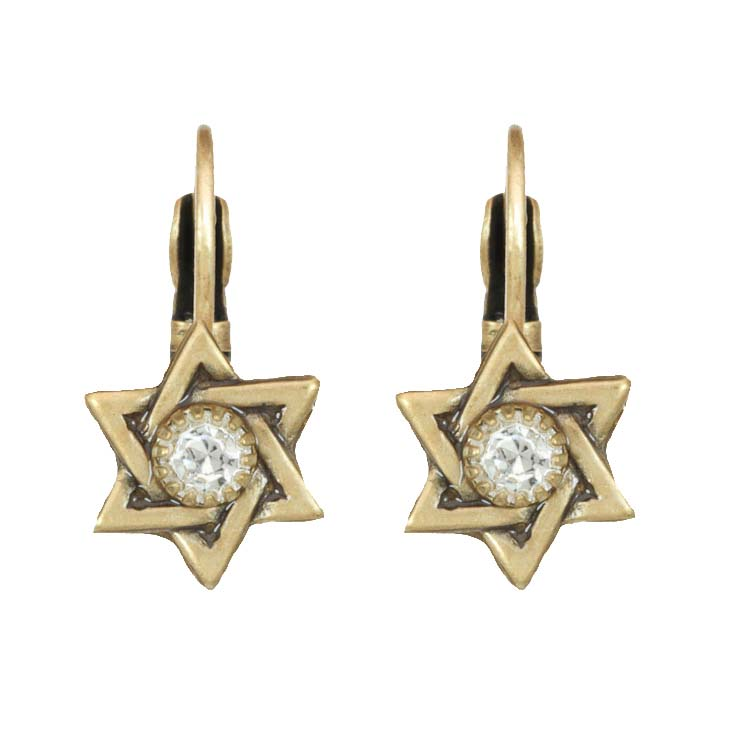 Star of David Tiny Crystal Earring