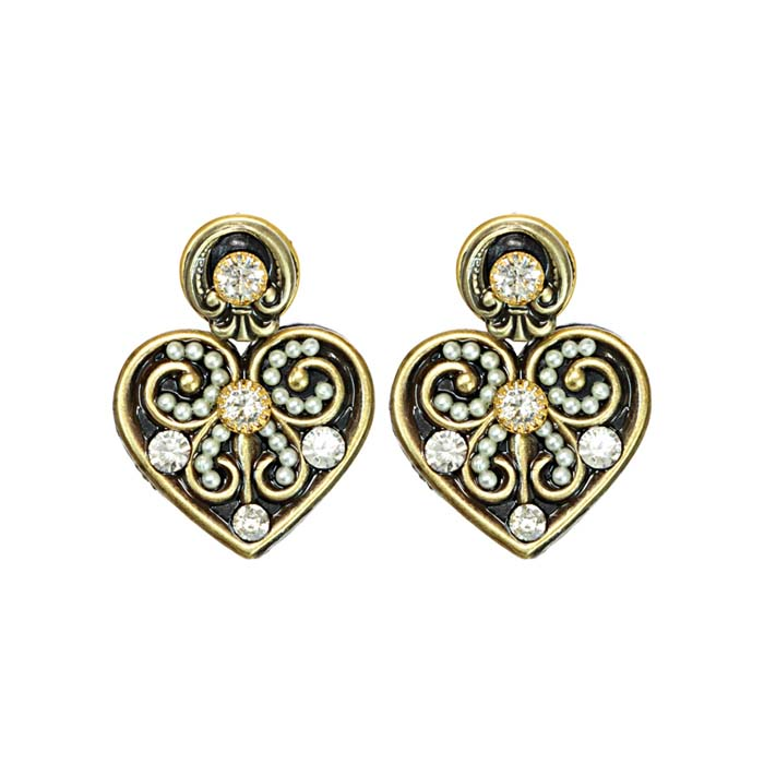 Art Deco Ornate Heart Post Earrings