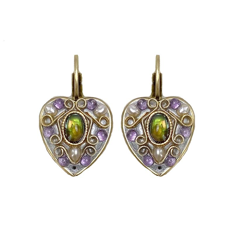 Amethyst Heart Earrings